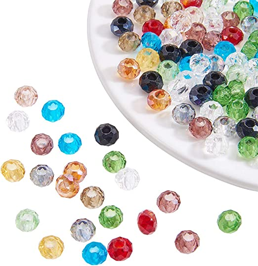 4mm 100 x Faceted Glass Beads Rondelle Mixed Colour