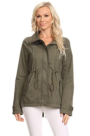 5147025b863 Ambiance Apparel Women s Plus Size Olive Green Contrast Anorak Jacket (3XL