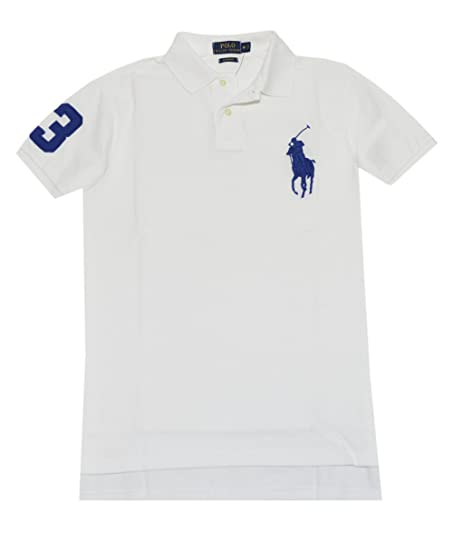 Ralph Lauren Men Custom Fit Big Pony Polo Shirt White-Large