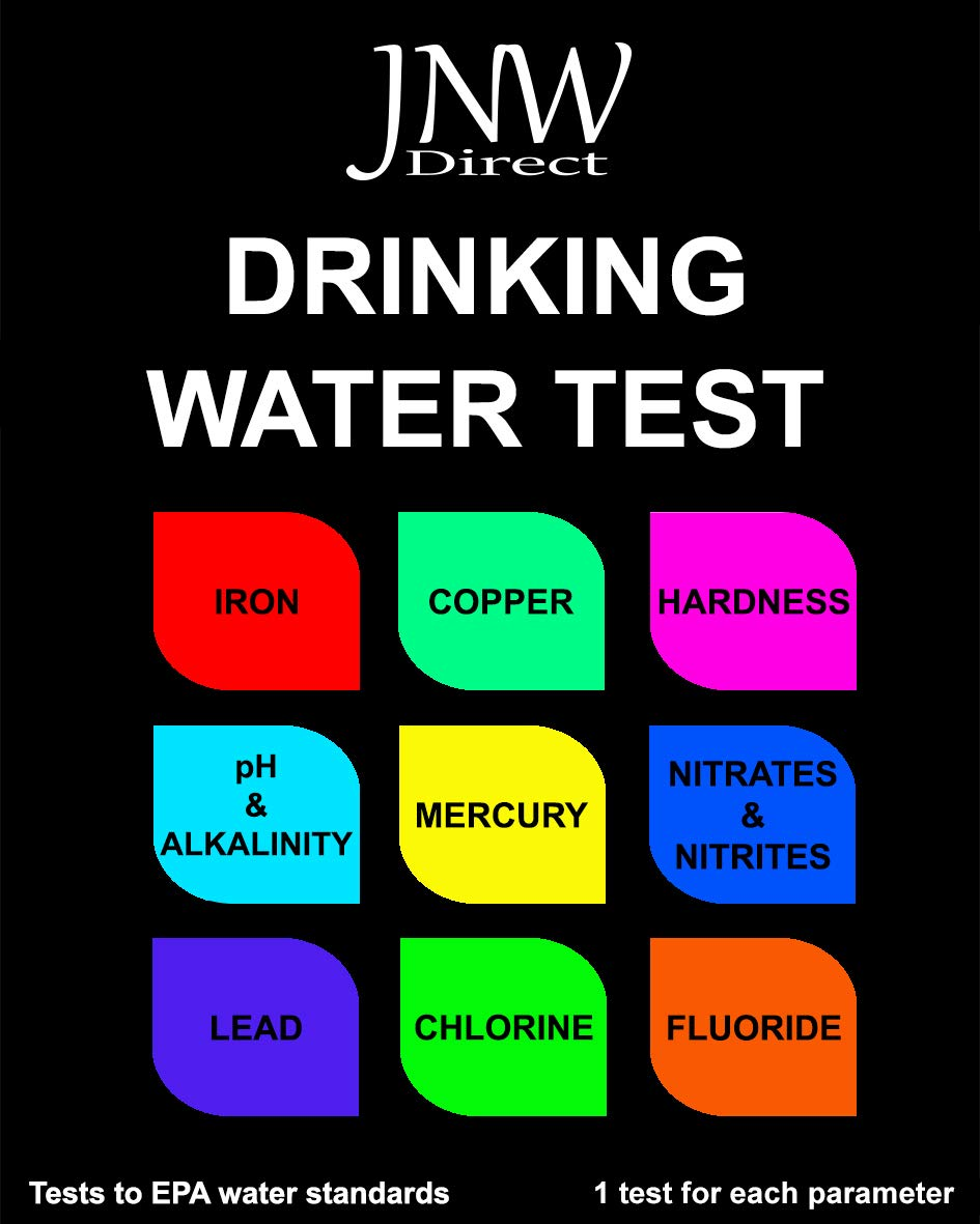JNW Direct Drinking Water Test Kit for Lead, Iron, Mercury, pH, Hardness and More, Water Test Strips Kit for Testing to EPA Standards, Easy, Instant and Accurate by JNW Direct