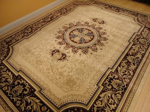 Cream 5x8 Rug Burgundy Border Area Rug Oriental Carpet 6x8