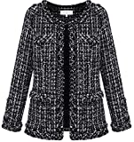 YUNY Womens Fashion Tweed Wool-Blend Short Coat black XXL