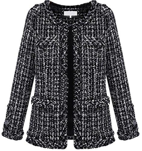 YUNY Womens Fashion Tweed Wool-Blend Short Coat black M (Jacket Tweed Wool)