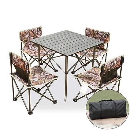 KXBYMX Mesa y Silla de Camping Mesa y sillas Plegables al Aire Libre ...