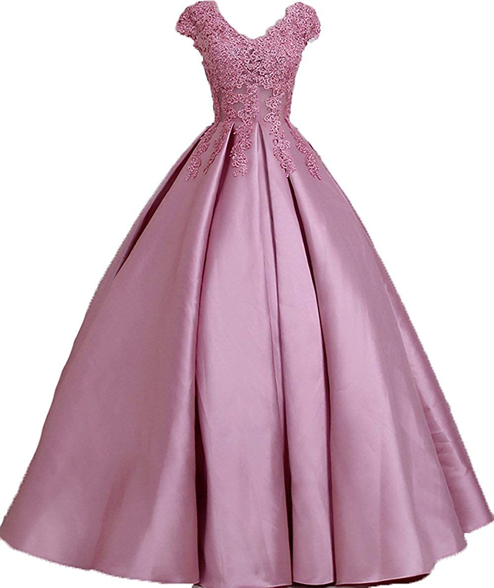 bluesh Dreagel Women's Ball Gown Prom Dresses Beaded Appliques Formal Evening Gowns