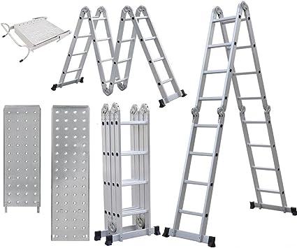 15 ft 4 x 4 andamio extensible plegable paso escalera con plataforma de trabajo ironhides cartucho, Heavy Duty multiusos de aluminio escalera kg capacidad: Amazon.es: Bricolaje y herramientas