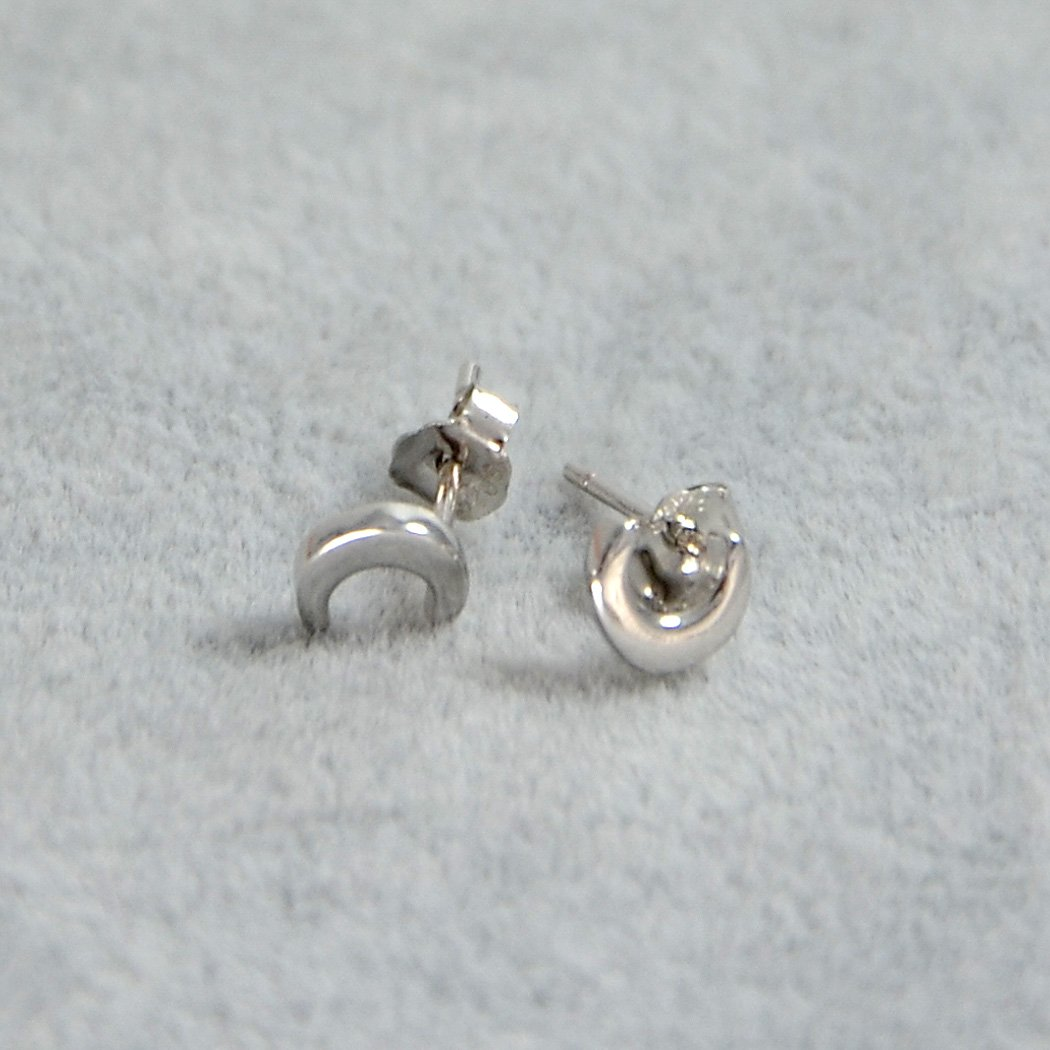 Rhodium Plating Paialco 925 Sterling Silver Moon Crescent Earrings Studs