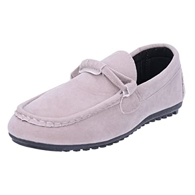 Men's Casual Moccasin Slip-On Flats Boat Shoes/Loafers/Slippers Indoor Outdoor Breathable Rubber Sole (7.5 Gray)