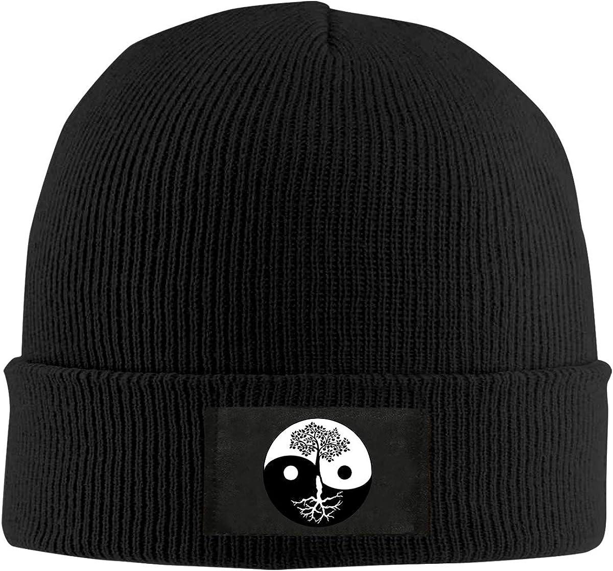 Unisex Stylish Slouch Beanie Hats Black Tree of Life Yin Yang Logo Top Level Beanie Men Women
