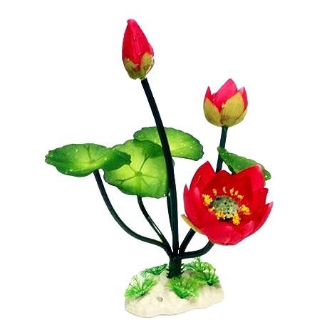 Adornos en miniatura de flor de loto falsa para jardín, pecera, pecera, decoración