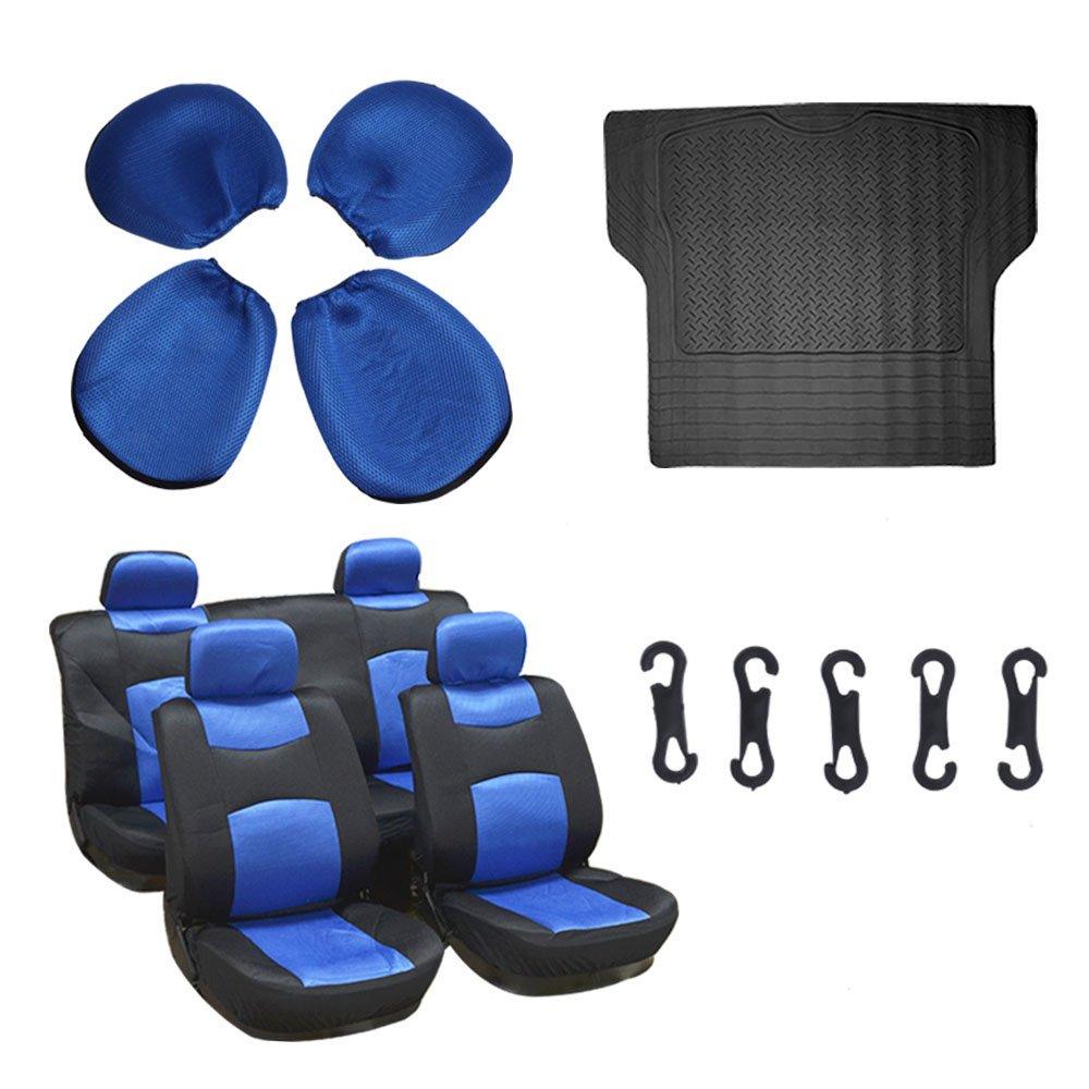 Scitoo 9-PCS Trunk Liner Floor Mat Mesh Black/Blue Car Seat Covers W/4 Headrest Covers for Heavy Duty Vans Trucks