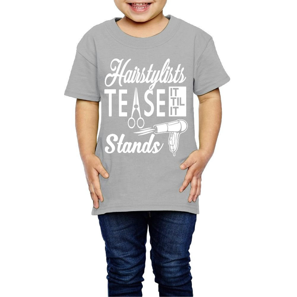 Yishuo Kid Hairstylists Tease It Till It Stands Leisure Travel Shirt Short Sleeve Gray 3 Toddler