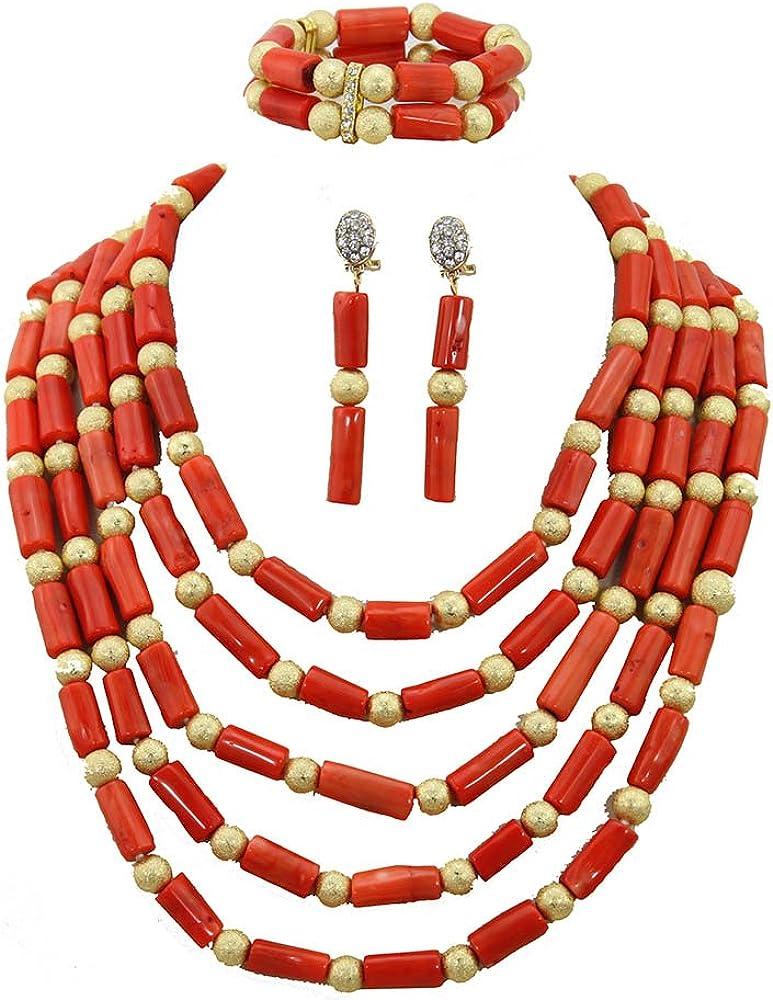 Africanbeads 2 Parure de bijoux de mariage nig/érienne avec perles en corail orange