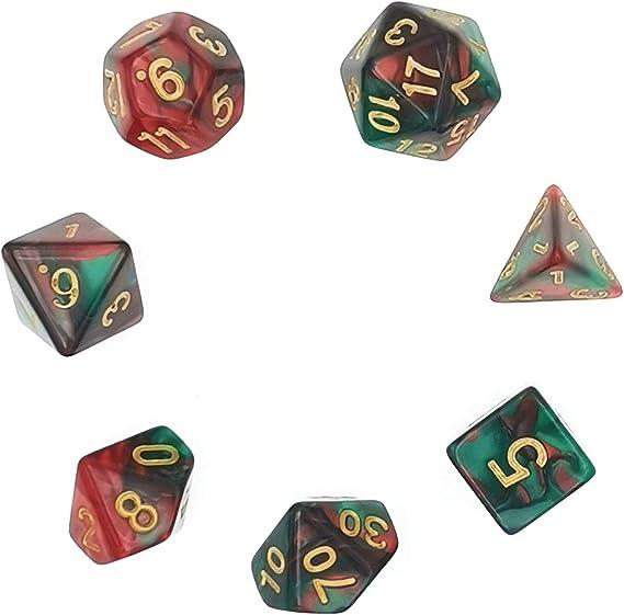 MUCHEN SHOP Dados Poliédricos Set,7 Piezas Dados poliédricos para DND MTG RPG Mazmorras y Dragones para Fiestas Juegos de Mesa de reunión Familiar D4 D6 D8 D10 D12 D20(Rojo Verde): Amazon.es: Hogar