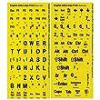 Large Print Key-Top Stickers - Black On Yellow