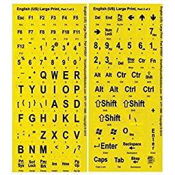 Large Print Key-Top Stickers - Black On Yellow