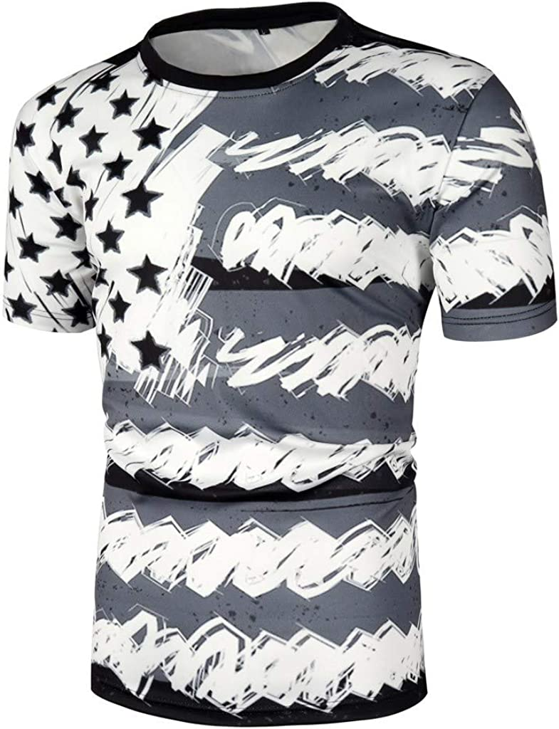 QingFan Fashion Mens Summer Independence Day 3D Printing Short Sleeves Round Neck T-Shirt Tops