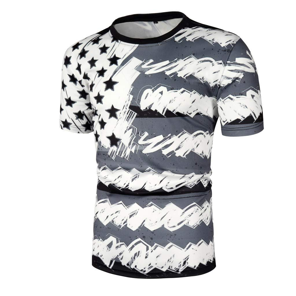 Men Tshirts Graphic Hunting Short Sleeve Crew Neck Summer Independence Day 3D Printing Blouse Top Gray