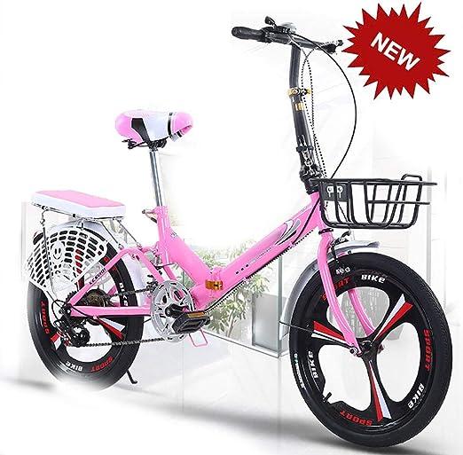 HEWXWX 20-Pulgadas Velocidad Bicicletas Plegables, Ultra SeñOras Luz PortáTil Adultos Bicicletas para Mujer PequeñA Bicicleta con Canasta Y Shockabsorption Usadas por La Familia Entera,Pink: Amazon.es: Jardín