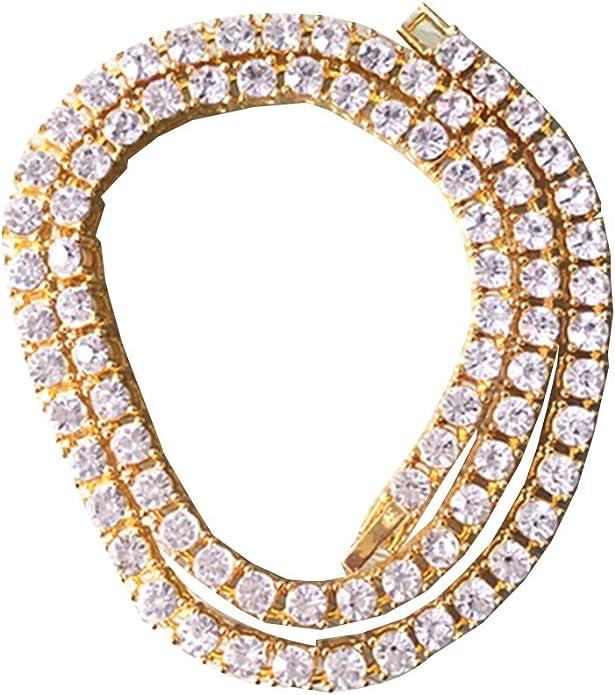 TiaoBug 1 Row Simulated Diamond Hip Hop Bling Tennis Necklace Chain