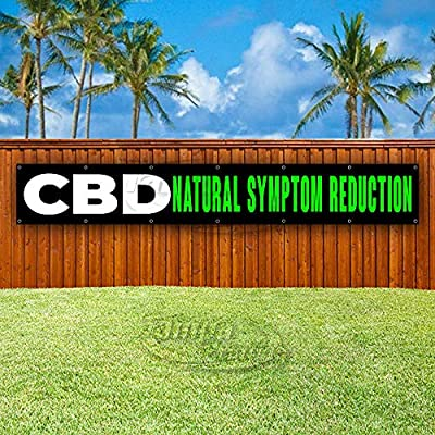 Store CBD Natural Symptom Reduction Extra Large 13 oz Heavy Duty Vinyl Banner Sign with Metal Grommets Advertising New Flag, Many Sizes Available