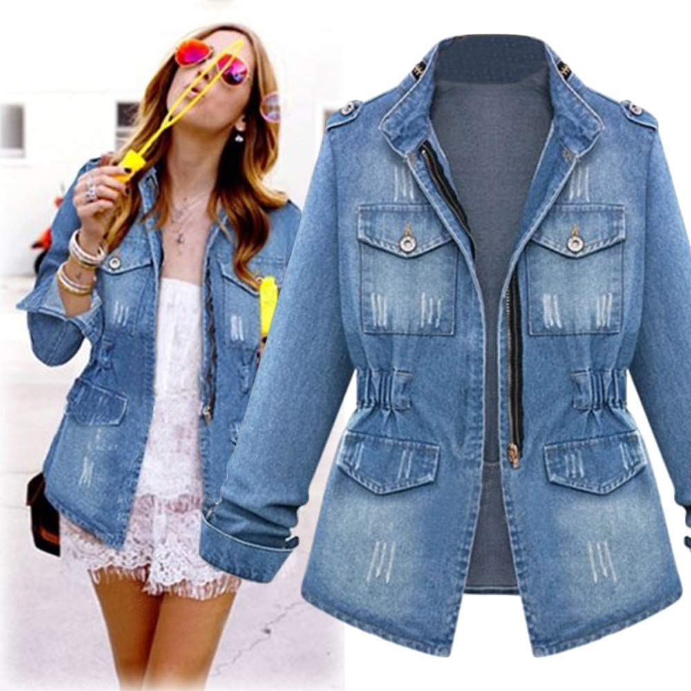 vermers Womens Plus Size Denim Jacket Coat Casual Ladies Oversize Jeans Chain Jacket Pocket Coat