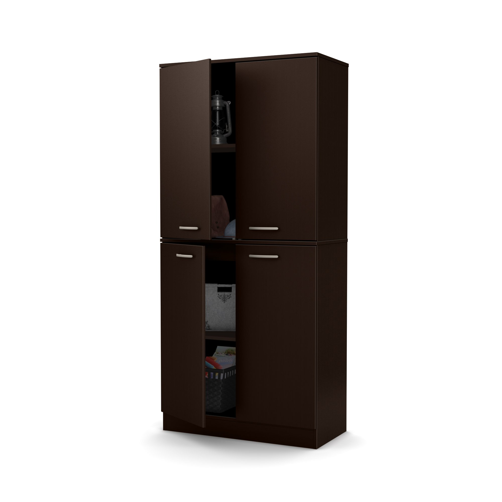 South Shore Axess Tall 4-Door Storage Cabinet with Adjustable Shelves, Chocolate