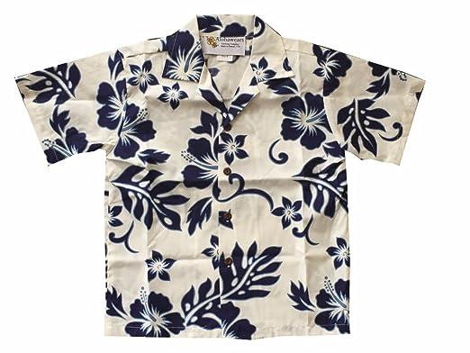 246d6d1be Made in Hawaii ! Boy's Classic Hibiscus Hawaiian Aloha Shirt (6, White/Blue