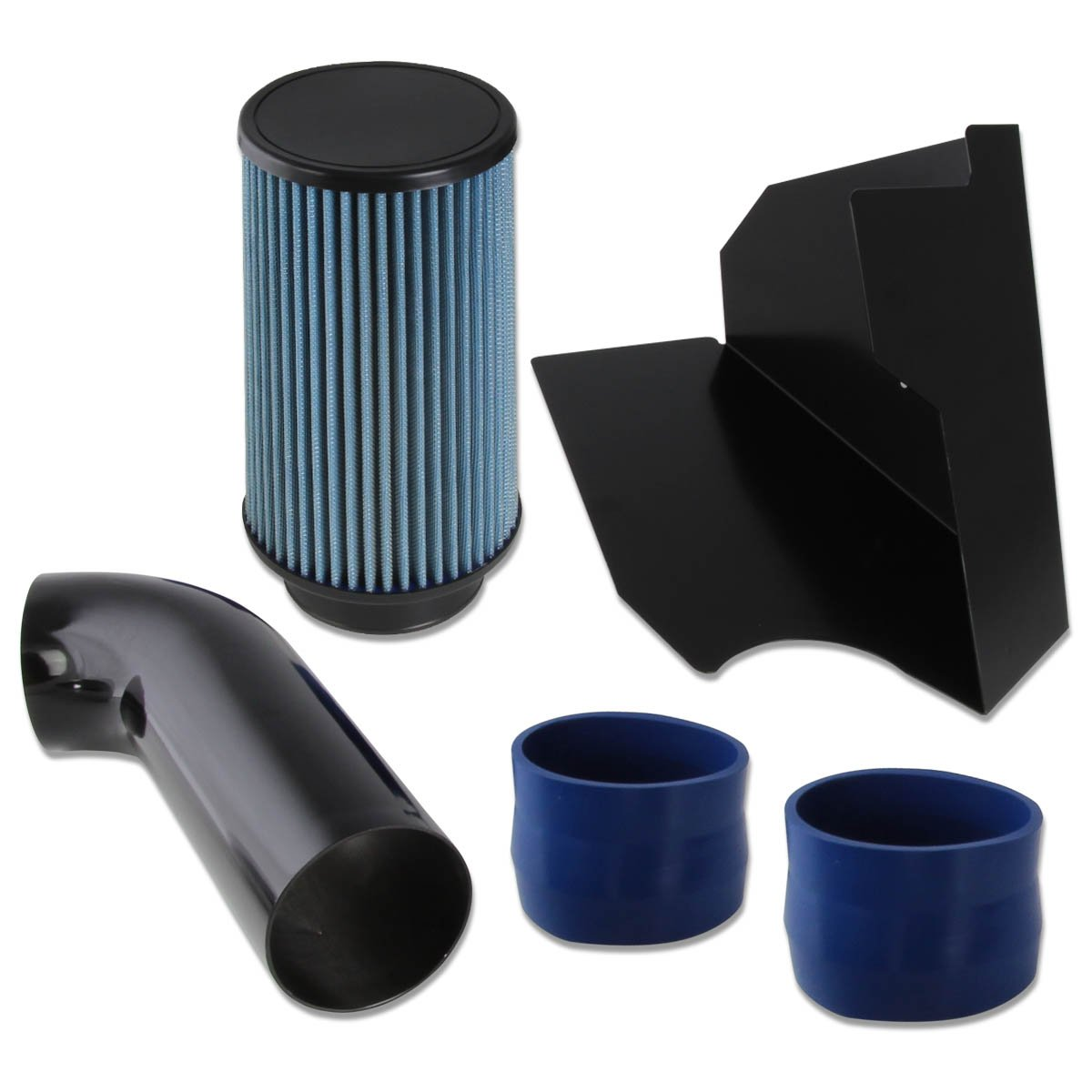 For Chevy/GMC C/K Series GMT400 5.0L/5.7L V8 Black Cold Air Intake Pipe+Heat Shield+Blue Filter