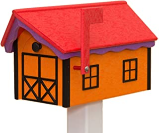 product image for Recycled Poly Plastic Barn Mailbox USA Handmade (Red & Orange)