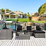 Cloud Mountain 6 Piece Rattan Wicker Furniture Set Outdoor Patio Garden Sectional Sofa Set Cushions Holographic Rainbow & Silver Pillows, Mix Gray