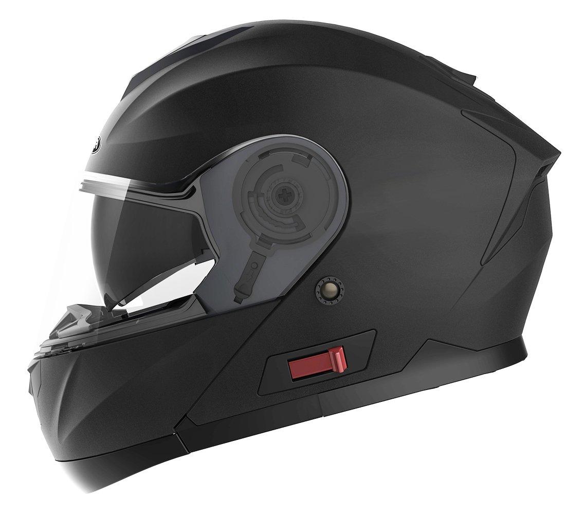 Motorcycle Modular Full Face Helmet DOT Approved - YEMA YM-926 Motorbike Moped Street Bike Racing Crash Helmet with Sun Visor for Adult, Men and Women - Matte Black,XL