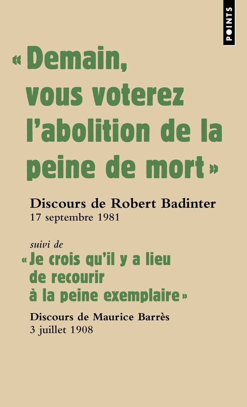 Discours pour l'abolition de la peine de mort (French Edition)