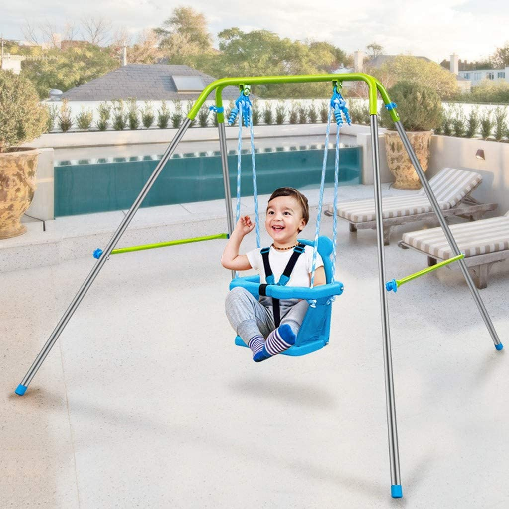 ETHY Baby Swings Set High Back Seat with Safety Belt , Kids Backyard Playground Toys Swing Seat with Stand Best Gift for Toddler Swing Indoor/Outdoor