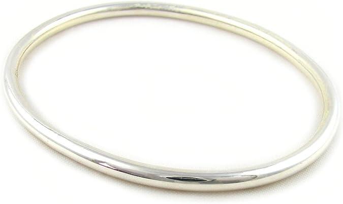 925 Sterling Silver Oval Shape Bangle Bracelet UK Hallmarked