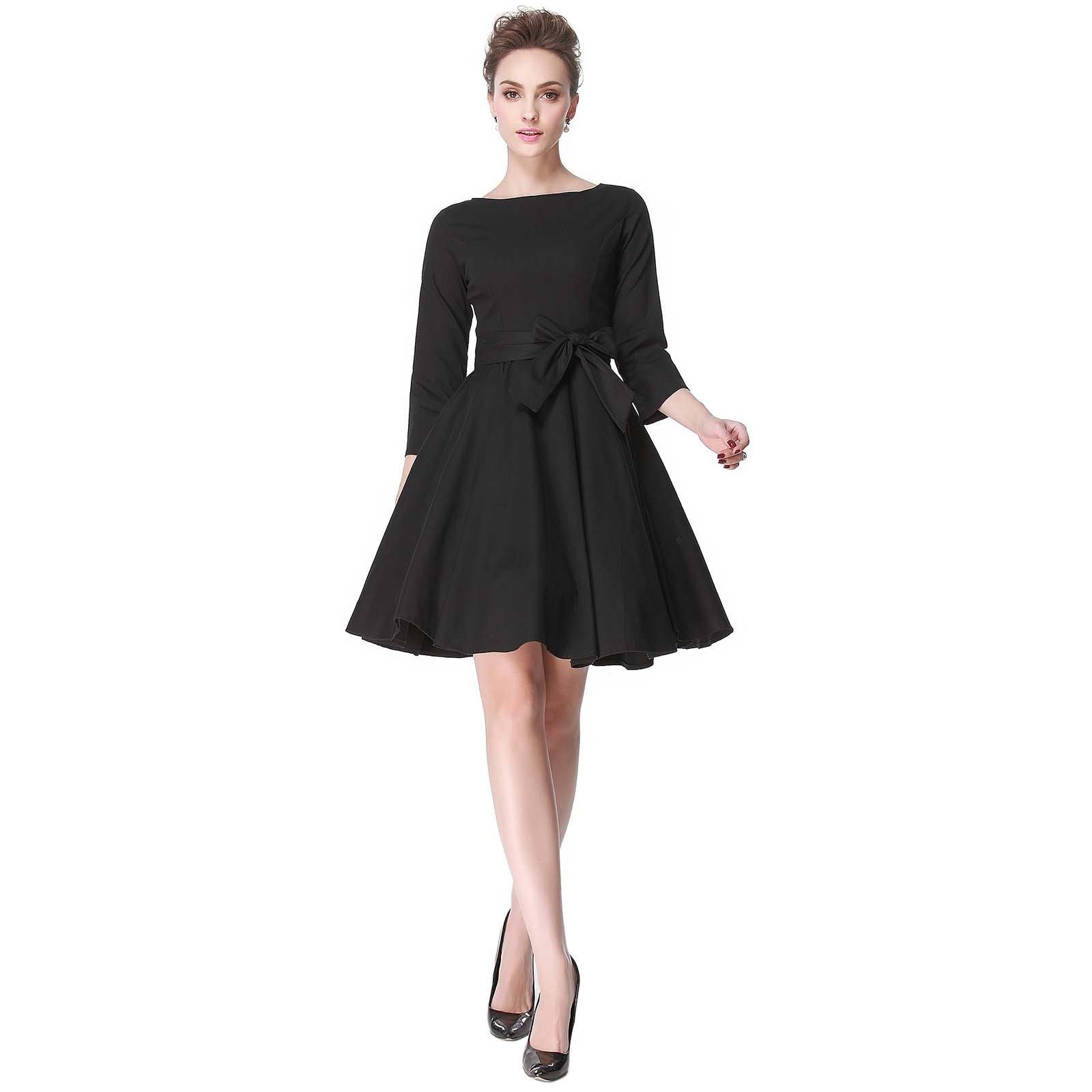 Heroecol 50s 60s Hepburn 3/4 Sleeve Style Vintage Retro Swing Rockailly Dresses Size XL Color Black by Heroecol (Image #1)