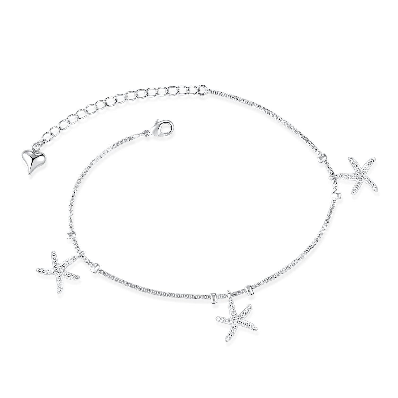 LOHOME Fashion Anklets Silver/Gold Tone Starfish Tassel Rhinestone Charm Foot Chain for Women L8.1+1.9''