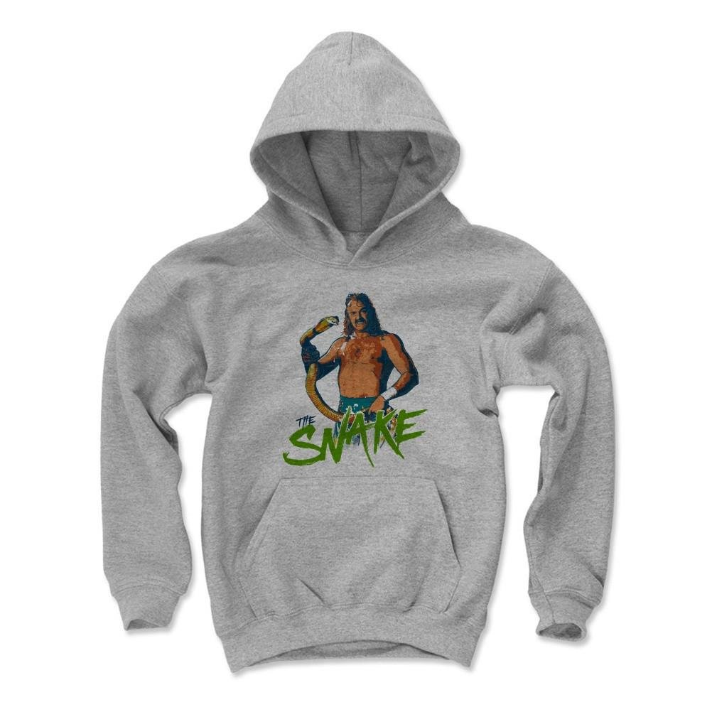 500 Level Jake The Snake Roberts Kids Youth Hoodie S Gray - Jake The Snake Stare G - Officially Licensed by Pro Wrestling Tees by 500 Level