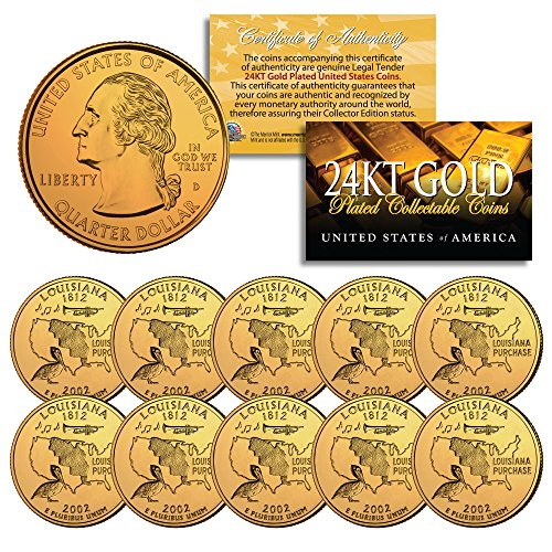 2002 Louisiana State Quarters U.S. Mint BU Coins 24K GOLD PLATED (LOT of ()