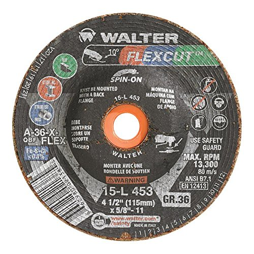 Walter Flexcut Premium Performance Flexible Grinding Wheel, Type 29, Threaded Hole, Aluminum Oxide, 4-1/2