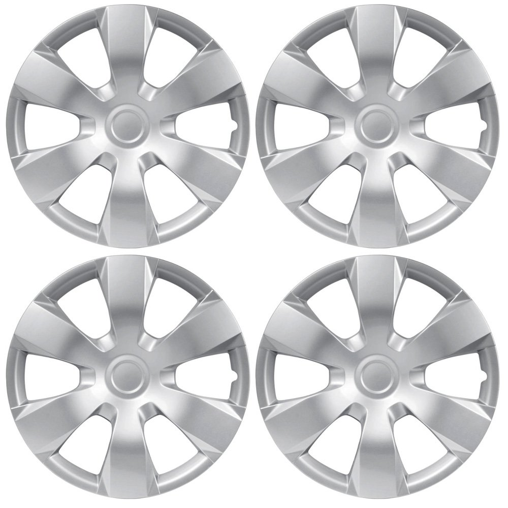 BDK Toyota Camry Style Hubcaps Cover, 16' Inch Silver Replica Wheel Hub Cap Covers, ABS Durable Material (4 Pieces Set) 16 Inch Silver Replica Wheel Hub Cap Covers KT-1000-16_King1