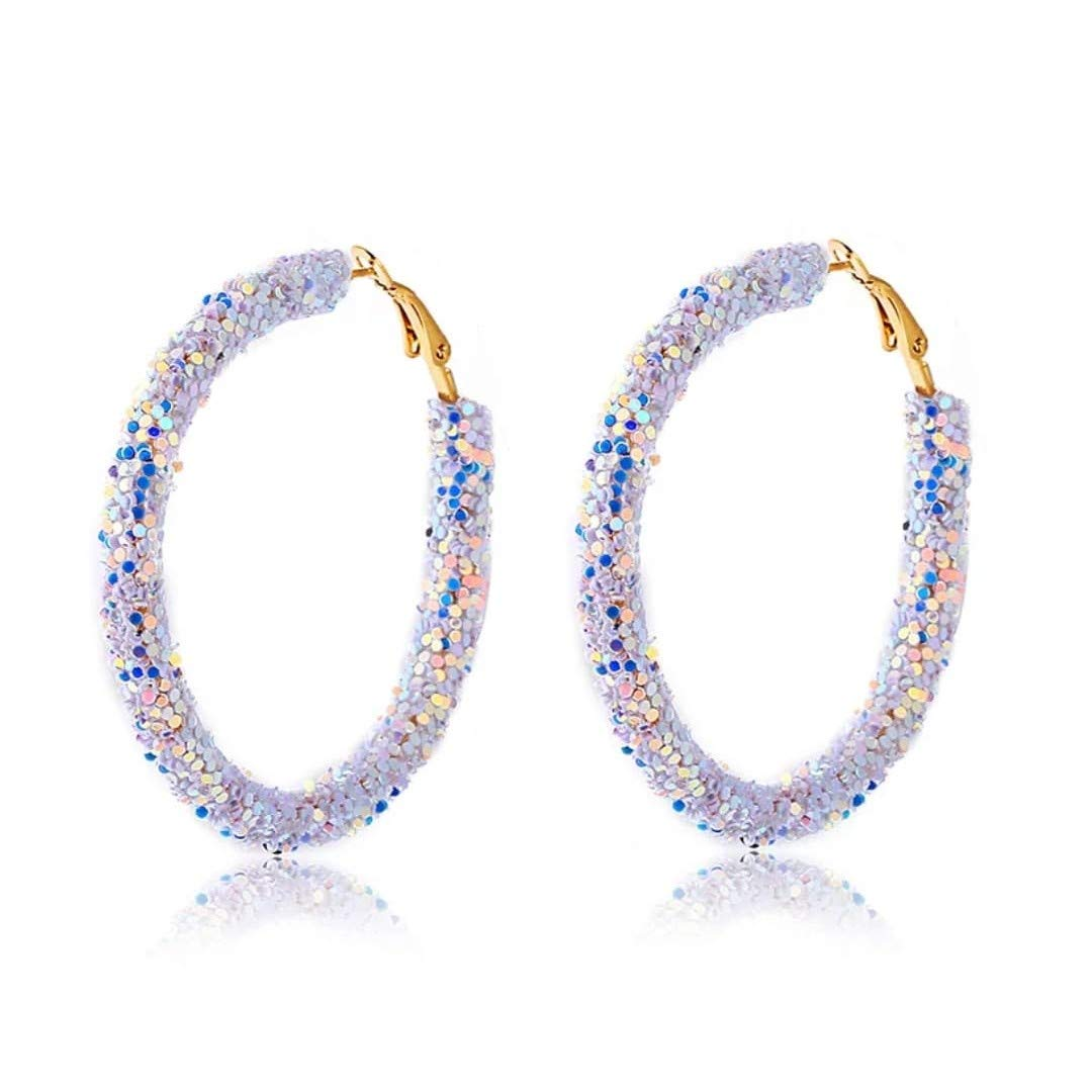 Zodiark Jewellery London Sparkling Silver Iridescent Sequin Encrusted Hoop Earrings with Gold Detail