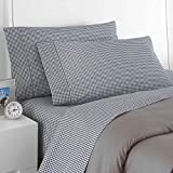 2 Piece Navy Blue White Gingham Plaid Standard Pillowcase Set, Elegant Classic Checkered Print Pillow Sham Cover Bold Check Reversible Design, Casual Country Lodge Style, Solid Colors, Soft Cotton
