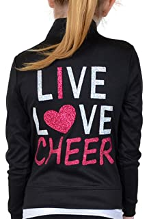 418426e175f Stretch is Comfort Girl s Rayon Live Love Cheer Warm Up Black Jacket