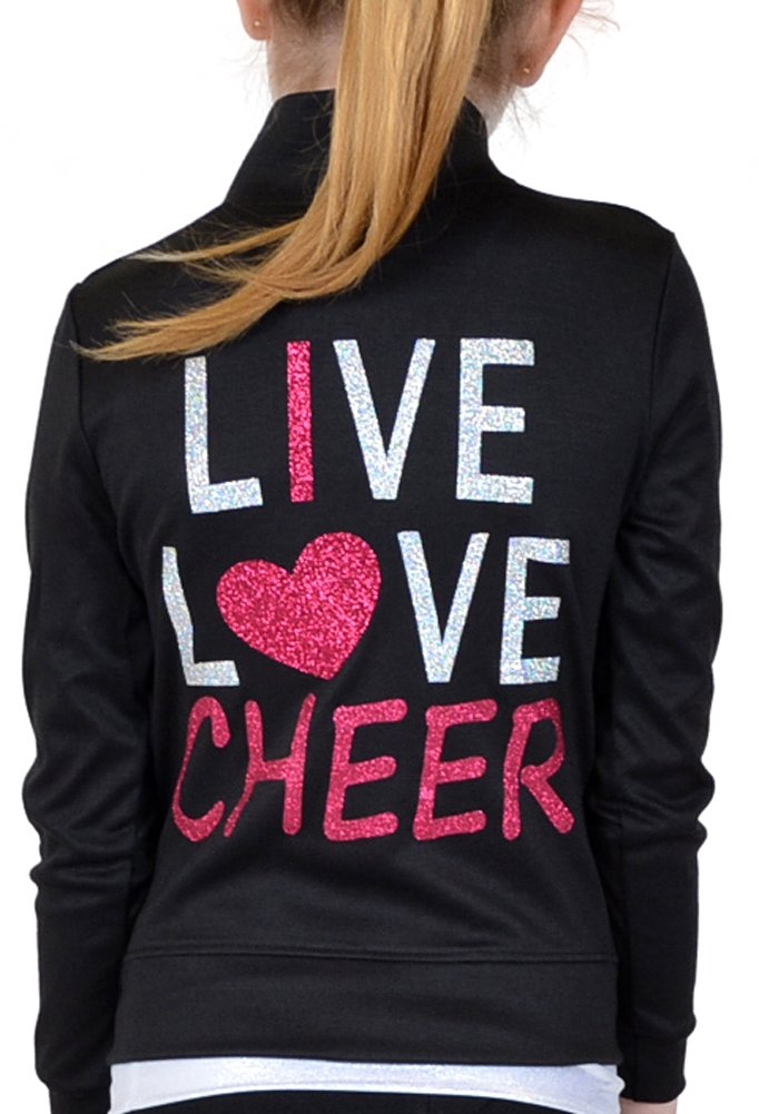 Stretch is Comfort Girl's Rayon Live Love Cheer Warm Up Black Jacket J3032LIVLVCH-$P