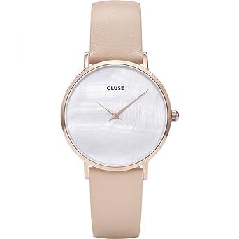 Cluse Reloj Analógico para Mujer de Cuarzo con Correa en Cuero CL30059: Amazon.es: Relojes