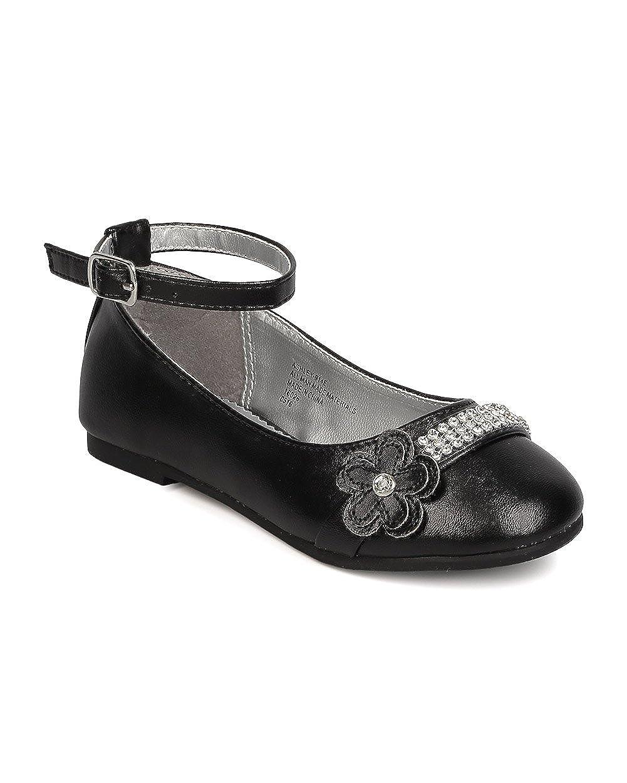 Black Toddler Girl//Little Girl//Big Girl Leatherette Rhinestone Daisy Ankle Strap Ballerina Flat FB43