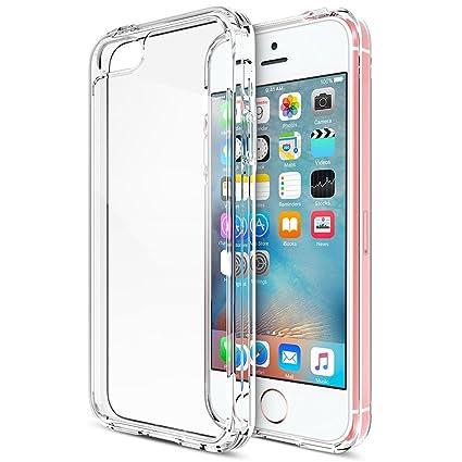 99763d65347 PUBAMALL Funda para iPhone SE, Clear PC Cubierta Trasera con TPU  Parachoques Marco híbrido Transparente