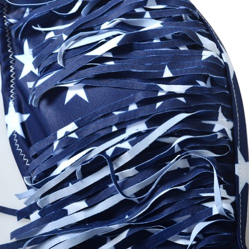 LOEL Sexy Lady Padded Athletic USA American Flag Fringe Tassel Swimsuits