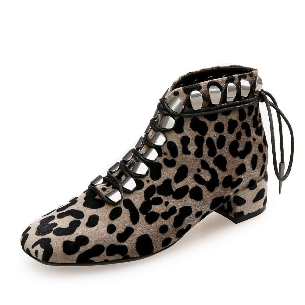 Damen Mode Stiefel Stiefel Stiefel Wildleder Herbst Winter Britisch Stiefel Block Ferse Quadratischer Zeh Leopard Party & Festivität US6.5 d45bce